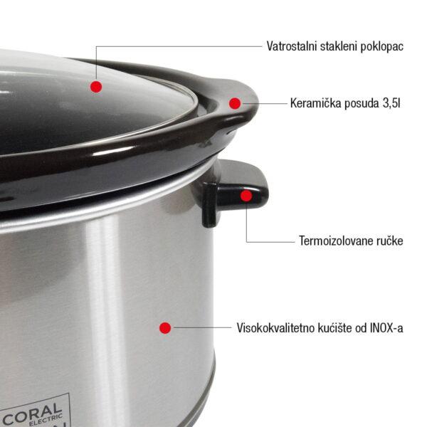 Coral aparat za sporo kuvanje 3,5 l 200 W - Mini Krčko SC-300 Selection