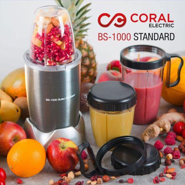 Coral nutri blender Bullet Standard sa tri posude 350 i 650 ml - BS-1000 - Sivi