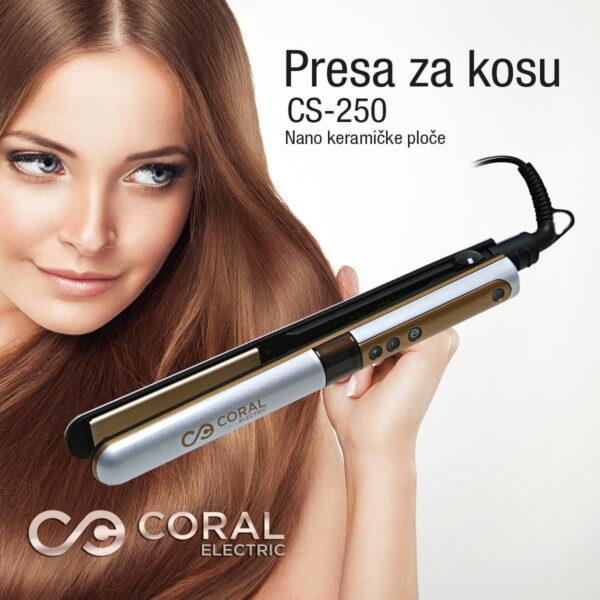Coral presa za kosu sa nano-keramičkim grejnim pločama - CS-250
