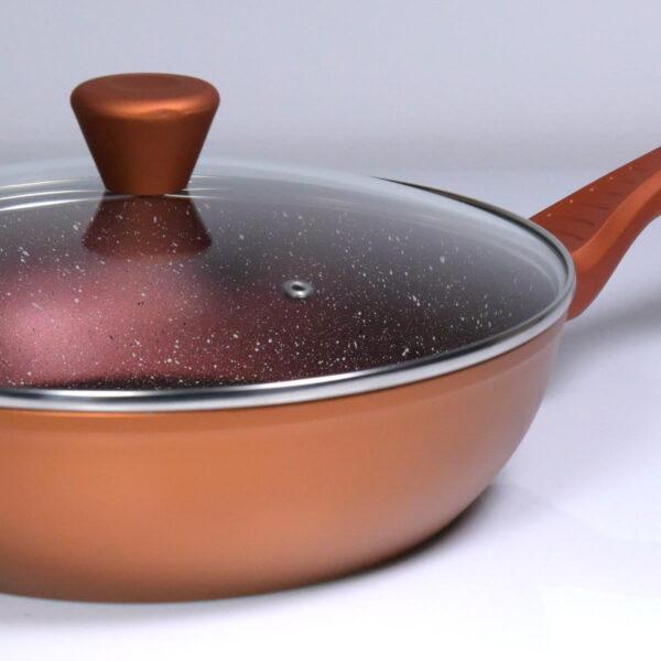Macht duboki tiganj sa poklopcem i nelepljivim granitnim premazom 28cm x 7cm - Red Granite Wok 28